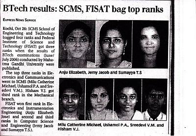 B. Tech Results - 2006 FISAT bags top ranks